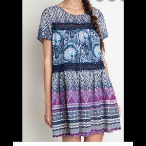 Umgee Boho  Multi Print Tunic Dress
